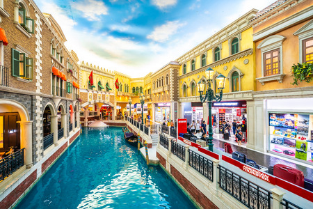 China, Macau - September 8 2018 - Beautiful luxury venetian hotel resort and casino with shopping mall in macau city Editorial