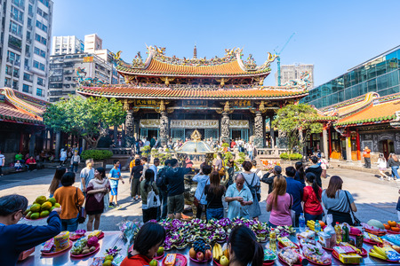 Taipei, Taiwan 1 December 2018 : Longshan temple is the popular place in Taiwan