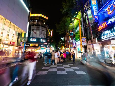 Taipei, Taiwan - November 27 2018 : Ximending street market is the popular district in taiwan