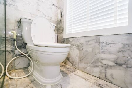White toilet bowl seat decoration in bathroom interior