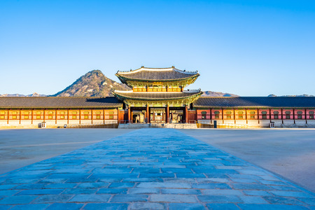 Beautiful architecture building Gyeongbokgung palace in Seoul South Korea Editöryel