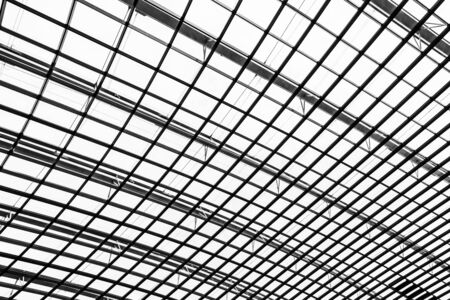 Abstract glass window roof architecture exterior for background in black and white color Stock Photo