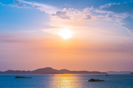 Beautiful landscape of ocean around Pattaya city in Thailand at sunset time Фото со стока
