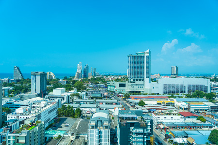 Pattaya Thailand - 23 October 2019 : Beautiful cityscape and landscape with building around Pattaya city Chonburi Province Thailand