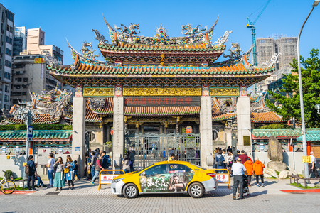 Taipei, Taiwan 1 December 2018 : Longshan temple is the popular place in Taiwan