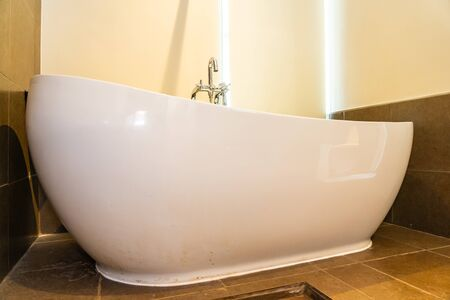 Beautiful luxury white bathtub decoration interior of toilet room Stock fotó