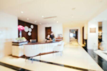 Desenfoque abstracto e interior del salón del vestíbulo del hotel desenfocado para el fondo Foto de archivo