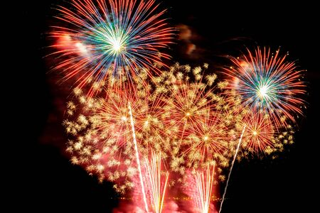 Beautiful colorful firework display at night for celebrate in festival anniversary