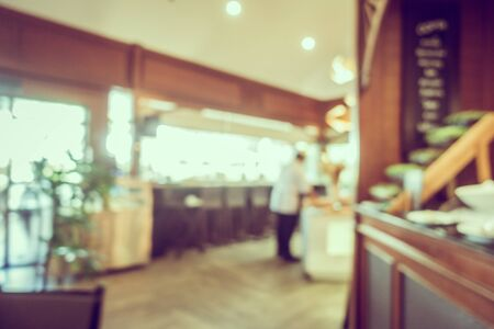 Abstract blur coffee shop and restaurant interior room for background