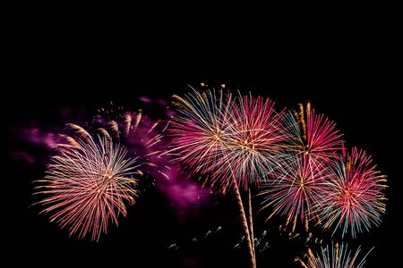 Beautiful colorful firework display at night for celebrate in anniversary