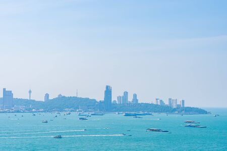Beautiful outdoor landscape and seascape with sea ocean bay in Pattaya city Thailand