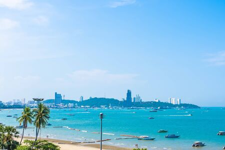 Beautiful landscape and sea ocean with white cloud and blue sky around Pattaya city Chonburi Thailand