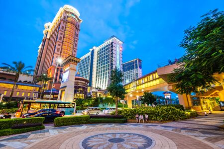 Beautiful architecture building of venetian and other hotel resort and casino in macau city at night