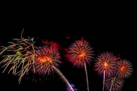 Beautiful colorful firework display at night for celebrate in anniversary Stock fotó