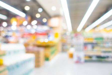 Abstract blur and defocus supermarket and shopping mall of department store interior for background