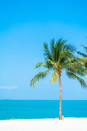 Belle nature tropicale de plage mer océan baie autour de cocotier pour des vacances de loisirs Banque d'images