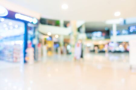 Abstract blur and defocus supermarket of shopping mall in department store interior for background