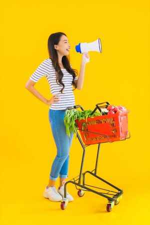 Portrait beautiful young asian woman with grocery basket cart and megaphone on yellow isolated background