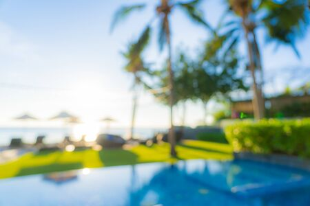 Abstract blur and defocus outdoor swimming pool in hotel resort for travel and vacation background