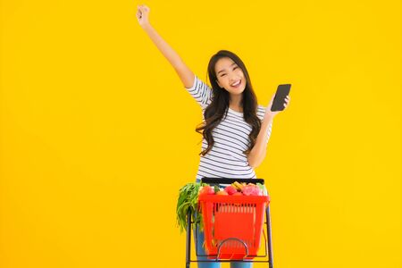 Portrait beautiful young asian woman shopping grocery from supermarket and cart with smart mobile phone on yellow isolated background Foto de archivo