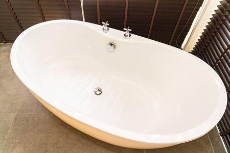 White bathtub decoration interior of bathroom