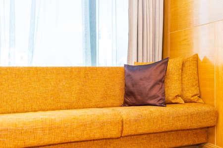 Pillow on sofa decoration interior of living room area Imagens