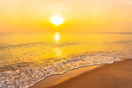 Beautiful landscape of sea beach ocean at sunset or sunrise time for leisure and vacation