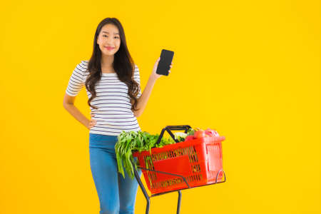 Portrait beautiful young asian woman shopping grocery from supermarket and cart with smart mobile phone on yellow isolated background