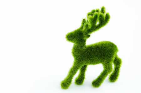 green Christmas deer isolated on white background