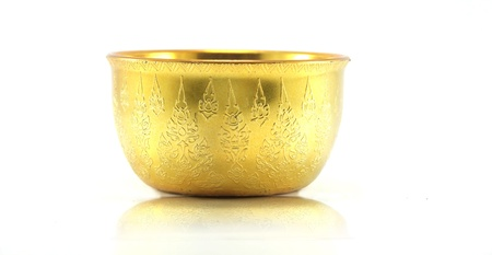 perforate: Traditional Thai golden Bowl on white background Stock Photo