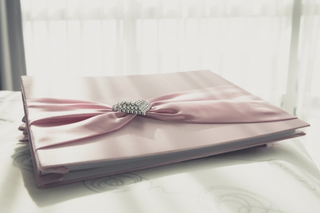 Wedding Notebook for well wishers on bed photo