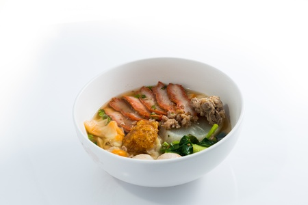 Asian Noodle Soup on white background photo