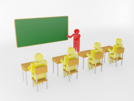 3d person with pointer in hand close to blackboard  Concept of education and learning  - 3d render illustration illustration
