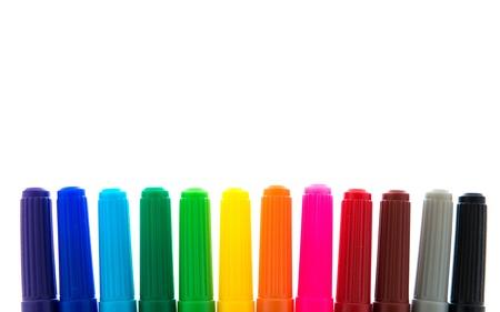 Many colorful felt tip pens isolated on white Stock Photo - 20575959