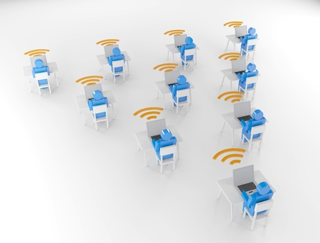 Human group Computer Network wifi 3D Render photo