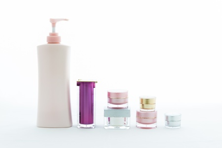 cosmetics collection: Cosmetic skin care on white background