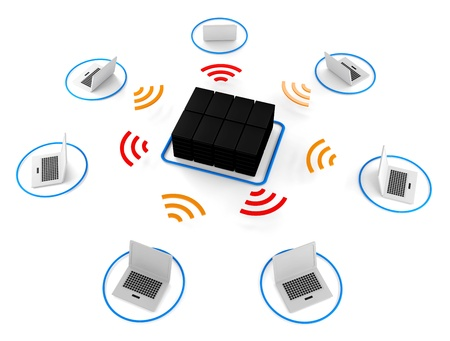 isp: Group of Wireless network server 3d image for Illustration Stock Photo