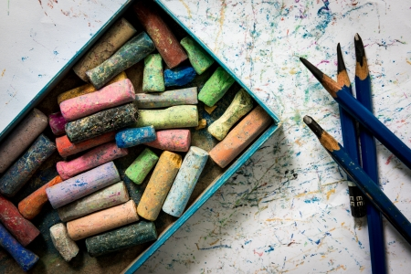 ee: Pencil drawing EE , Colored chalk , paper art on the ground Stock Photo