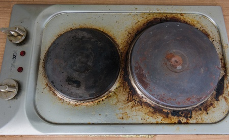 electric stove: Rust stains on the old  electric stove