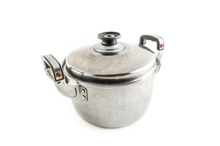 stainless steel pot: old Stainless steel pot on white background