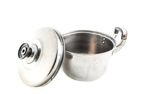stainless steel pot: old Stainless steel pot open on white background