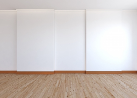 empty room , white wall and wood floor