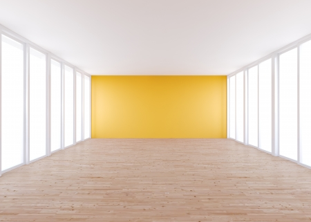 Empty Room , White Wall And Wood Floor Stock Photo, Picture And ...