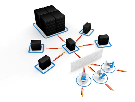 e recruitment: Human with  laptop with  big server NetWork firewall  3D Image for Illustration concept