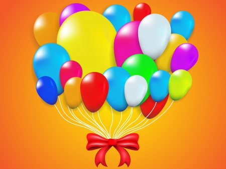Colorful Balloon and red Bow on Orange  Vector