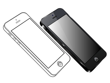 Black Smart Phone Vector. Left side view and out line
