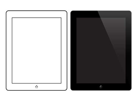 tabletpc: Black Tablet With Home Button Isolated On White. Front View