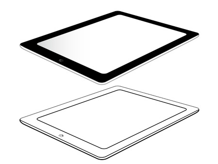 tabletpc: Black Tablet With Home Button Isolated On White. Right View Illustration