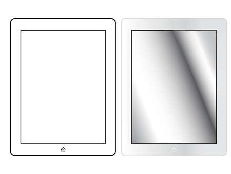 tabletpc: Silver Tablet With Home Button Isolated On White. Front View Illustration
