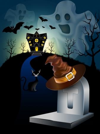 gnarled: Ghost Halloween Background.  Illustration